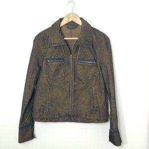 Yukka   Pin Striped Zip Front Jacket Brown 10